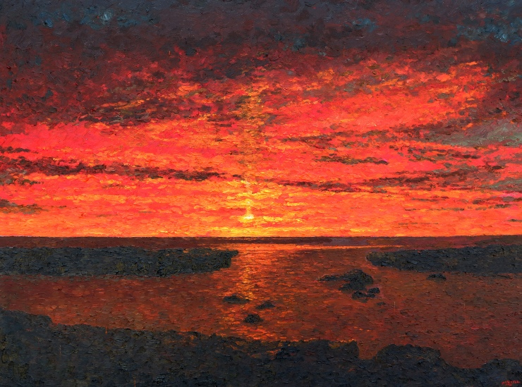 Sunset at Pangil Rock Formations 3 x 4 ft 2021 by Khervin Gallandez